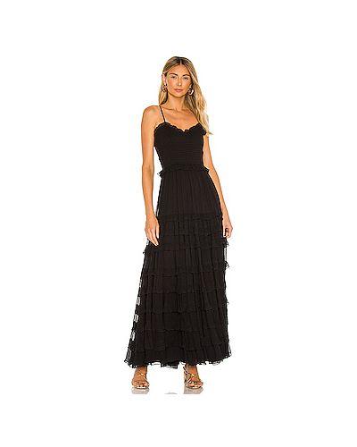 Черное платье макси на бретелях из вискозы с подкладкой Majorelle