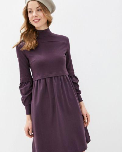 Фиолетовое прямое платье А-силуэта энсо