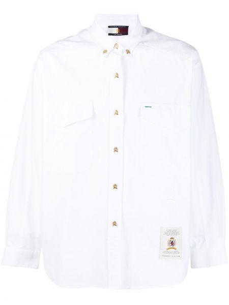 С рукавами белая рубашка с воротником на пуговицах Hilfiger Collection