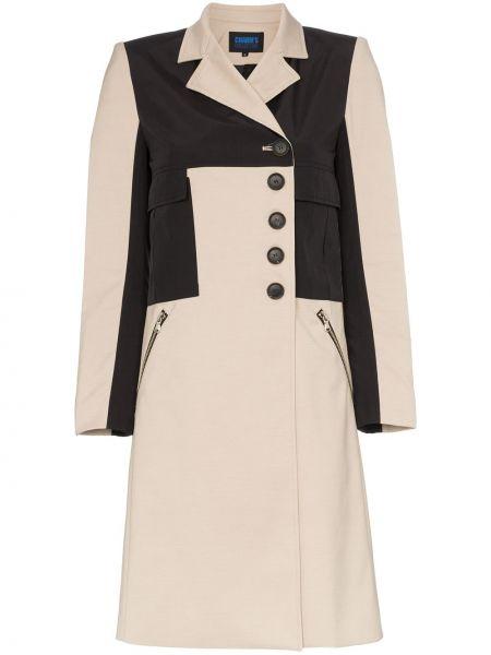 Однобортное длинное пальто с капюшоном на пуговицах Charm`s