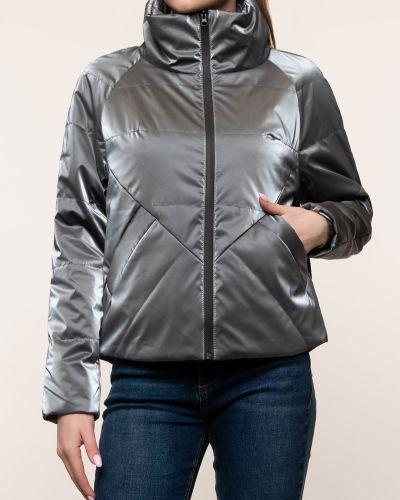 Утепленная серая куртка с воротником каляев