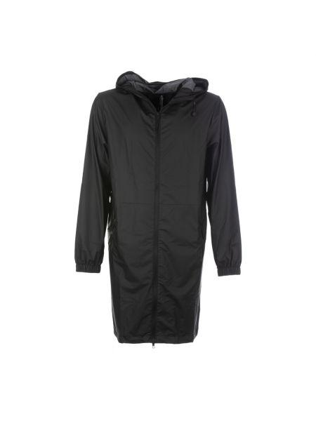 Czarny długi płaszcz z kapturem z długimi rękawami Rains