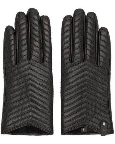 Czarne rękawiczki skorzane pikowane Mackage