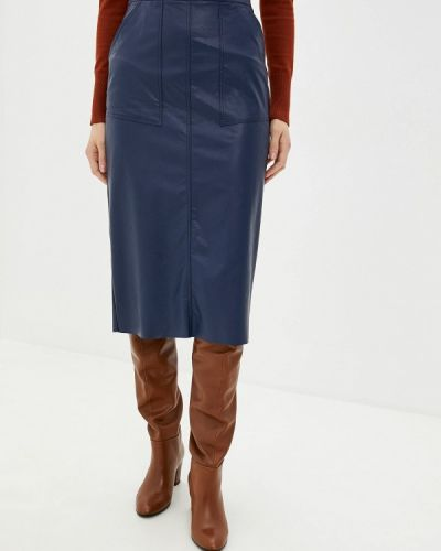 Кожаная юбка синяя итальянский Massimiliano Bini