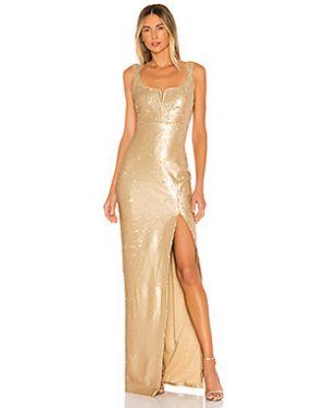 Вечернее платье с V-образным вырезом на молнии золотое металлическое Likely