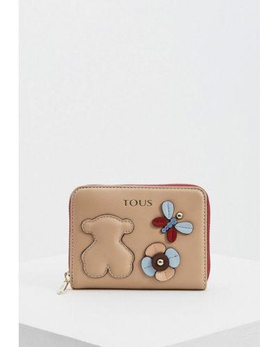 Кожаный кошелек - бежевый Tous