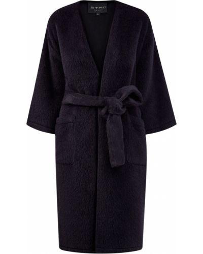 Шерстяное черное пальто оверсайз Etro