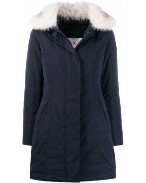 Синяя длинное пальто из лисы Peuterey