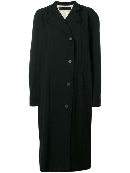 Хлопковый черный длинное пальто с воротником Haider Ackermann