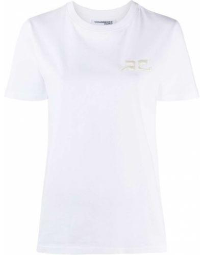 Белая прямая футболка с вышивкой с круглым вырезом Courrèges