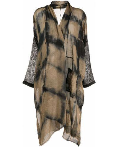 Асимметричное коричневое длинное пальто с карманами Masnada