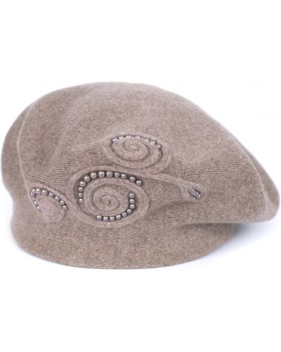 Beżowy beret z angory Art Of Polo