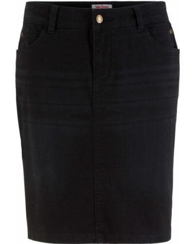 Черная джинсовая юбка со складками Bonprix