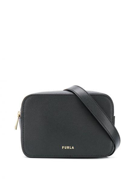 Кожаный черный ремень с поясом Furla