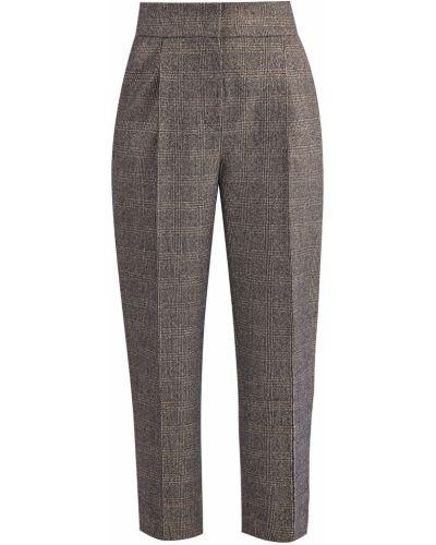 Укороченные брюки с защипами шерстяные Brunello Cucinelli