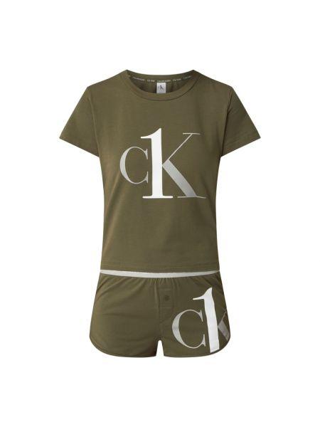 Zielona piżamy z szortami bawełniana krótki rękaw Calvin Klein Underwear