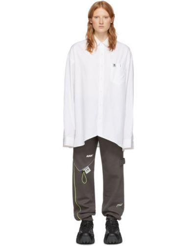 Белое платье макси с длинными рукавами с воротником Ader Error