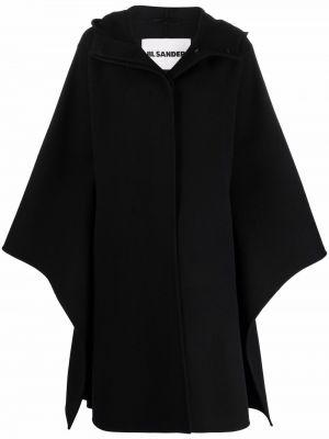 Полупальто с капюшоном - черное Jil Sander
