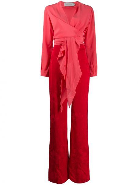 Шелковый расклешенный красный комбинезон с вырезом Silvia Tcherassi