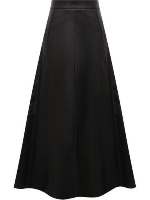 Кожаная юбка миди - черная Ralph Lauren