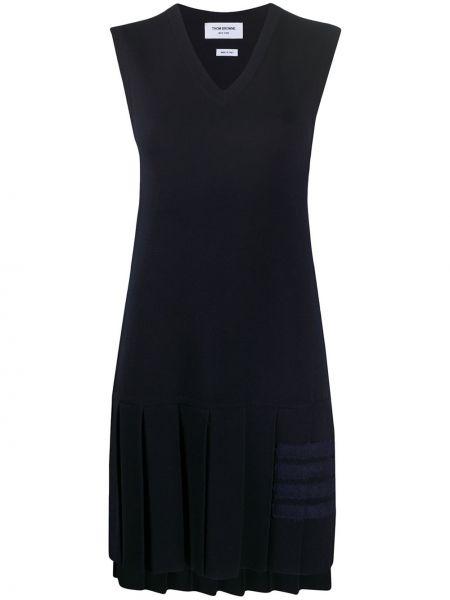 Niebieska sukienka mini wełniana bez rękawów Thom Browne