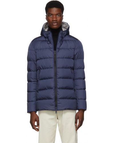 Z rękawami niebieski długa kurtka z piórami z kieszeniami Herno
