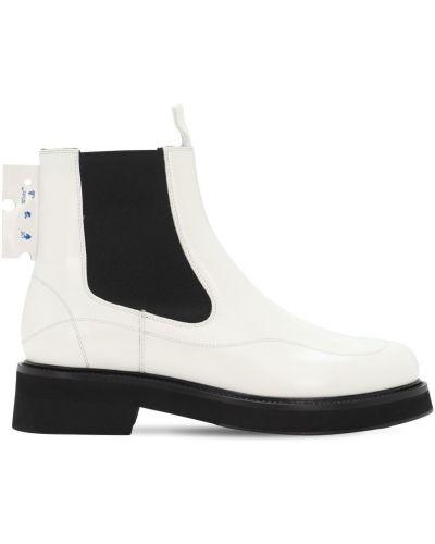 Biały buty z prawdziwej skóry prążkowany z wkładkami Off-white