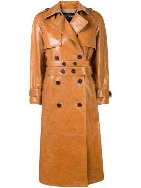 Кожаный длинное пальто двубортный с воротником Rokh