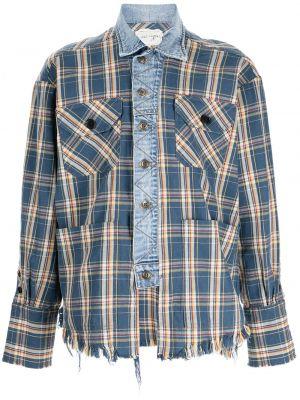 Синяя джинсовая рубашка длинная Greg Lauren