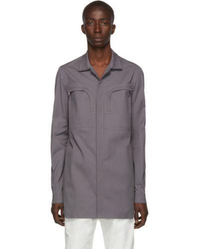 Bawełna bawełna z rękawami koszula oxford rozciągać Rick Owens