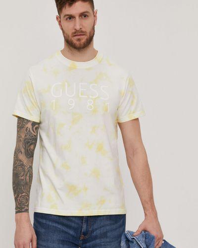 Żółty t-shirt bawełniany z printem Guess
