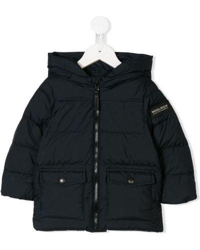 Пуховое синее пальто с капюшоном с перьями эластичное Woolrich Kids