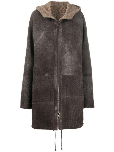 Brązowy płaszcz z kapturem skórzany Giorgio Brato