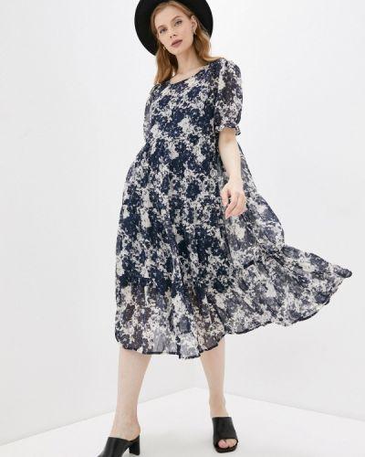 Прямое синее платье А-силуэта Ichi