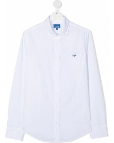 Белая оксфордская рубашка с воротником с вышивкой на пуговицах Fay Kids