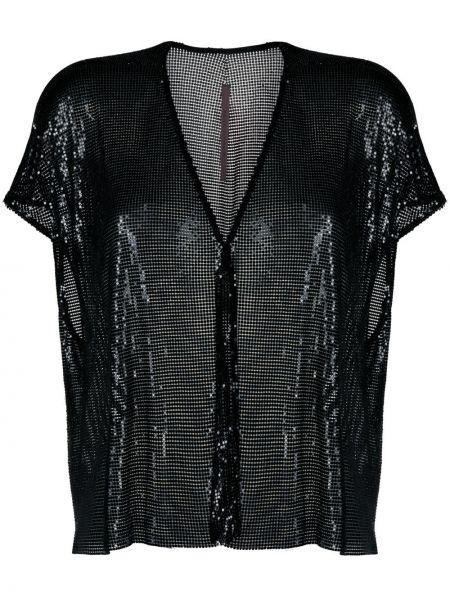 Черная блузка с пайетками с короткими рукавами Rick Owens Lilies