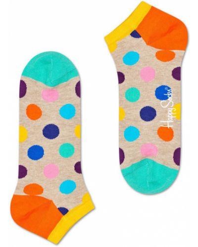 Оранжевые колготки с узором Happy Socks