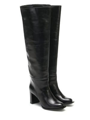 Черные сапоги на шпильке из натуральной кожи круглые Dorothee Schumacher