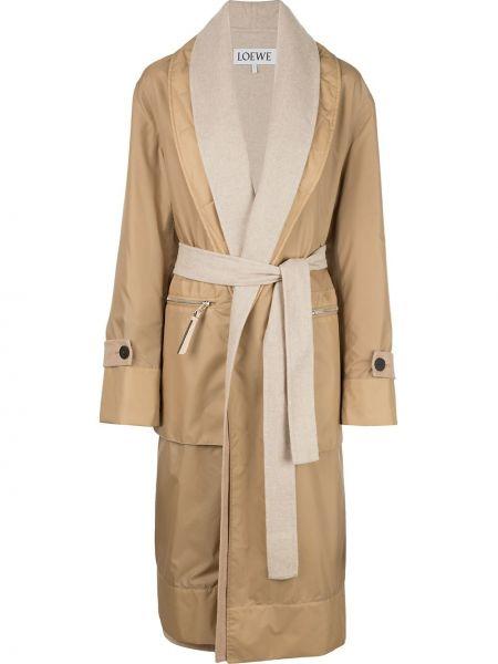 Коричневое шерстяное длинное пальто с капюшоном Loewe