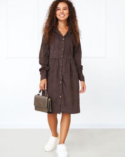 Повседневное платье миди - коричневое Fashion Girl