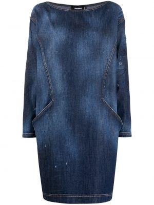 Прямое синее платье макси с вырезом Dsquared2