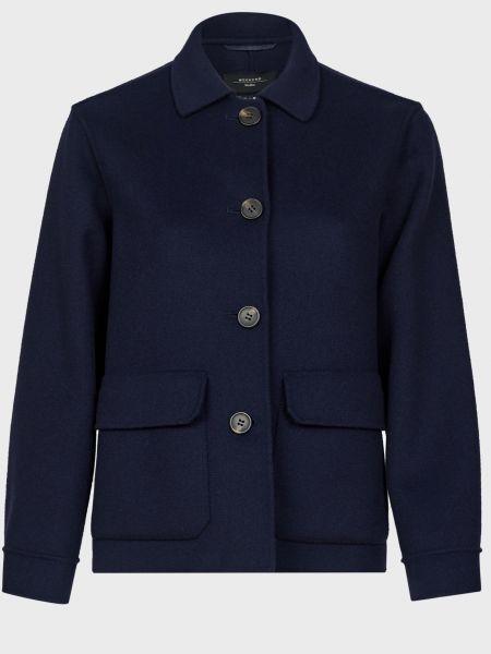 Шерстяная синяя куртка на пуговицах Weekend Max Mara