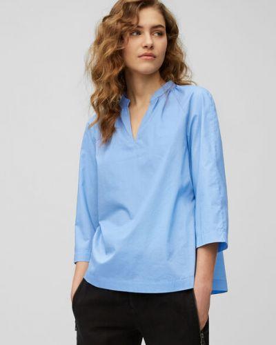 Klasyczna niebieska bluzka z golfem bawełniana Marc O Polo