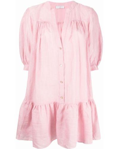 Розовое платье рубашка с короткими рукавами с оборками Sandro Paris