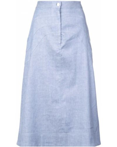 Синяя юбка миди в рубчик Jill Stuart