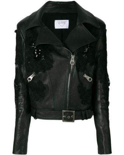 Черная куртка байкерская на молнии Almaz