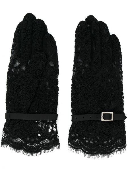 Кожаные перчатки ажурные черные Comme Des Garçons Noir Kei Ninomiya