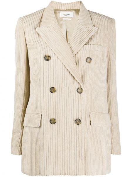 Бежевый удлиненный пиджак вельветовый двубортный Isabel Marant étoile