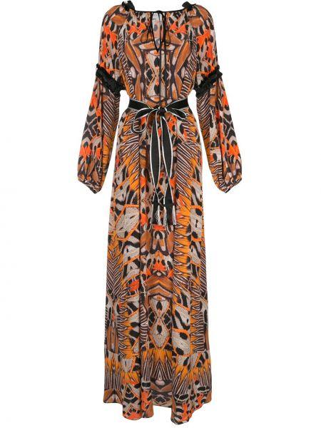 Коричневое расклешенное шелковое платье с вырезом Amanda Wakeley