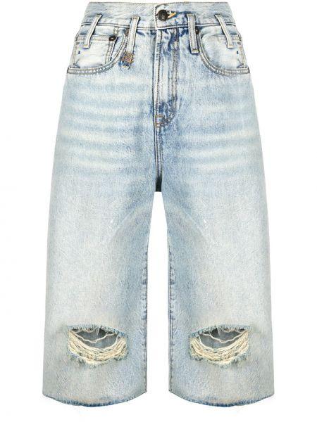 Джинсовые шорты с карманами с высокой посадкой R13
